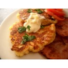 Mountain Mama's Potato Pancakes - Savory potato pancakes with onion and cheese are easy to make, because you start with instant mashed potatoes and prepared pancake mix. Make up a big batch of dry mix ahead of time, and these take only a few minutes to get on the table.