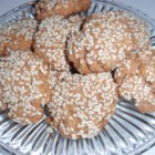 Red Wine Sesame Biscuits - Crunchy, lightly sweetened biscuits flavored with red wine and coated in sesame seeds.