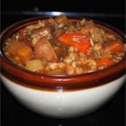JG's Irish Lamb Stew - Tender chunks of lamb simmer for hours with pearl barley, potatoes, and rutabaga in a traditional Irish stew flavored with dark stout beer.