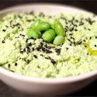 Cilantro Edamame Hummus - Frozen edamame replace the chickpeas in this untraditional spin on a traditional hummus. Tahini, garlic, cilantro, and lemon juice add plenty of flavor, too.