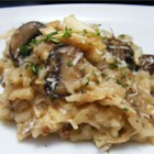 Roasted Chicken with Risotto and Caramelized Onions - Moist roasted chicken gets the royal treatment with caramelized onions, balsamic vinegar and creamy risotto. You may choose to roast your own chicken or purchase a rotisserie chicken from a grocery store. A little grated cheese such as Parmesan or Pecorino Romano before serving is also a nice touch.