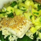 Sweet Sesame Mahi Mahi - Mahi mahi fillets are coated with sesame seeds before being pan-fried in this recipe, which also makes a simple pineapple salsa for serving with the cooked fish.