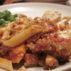 Baked Ziti with Sausage - Baked until bubbly with spaghetti sauce, cheese, and sausage, this is a ziti with a lot of flavor.
