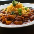 Chili III - Cubes of potato are cooked into this kidney bean, tomato and ground beef chili.