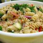 Summer Pasta Salad II - Fresh vegetables and pasta with salami, pepperoni and tasty artichoke hearts make for a beautiful, crowd pleasing Summer dish.