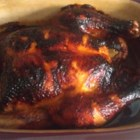 Spicy Honey-Roasted Chicken - A nice big roasted chicken with sticky honey-spice coating makes a great meal for Sunday dinner or any family occasion you want to make special.