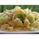 Cabbage Balushka or Cabbage and Noodles - This Hungarian favorite side dish is just cabbage, onions, and egg noodles cooked in butter with salt and pepper to taste. It's so easy and good.