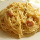 Ham Tetrazzini - Stir diced ham into a hearty Cheddar cheese sauce with cooked spaghetti, along with chopped pimento and parsley for color. Dinner's ready in about half an hour!