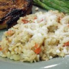Orzo and Potato Parmesan - Fresh Parmesan cheese is melted over Italian-spiced orzo and vegetables.