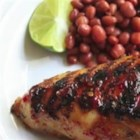 Cherry Bomb Chicken - Chicken is soaked in a flavorful brine with hot peppers and tomatoes before being grilled until crispy on the outside and moist and juicy on the inside.