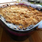 Peach and Blueberry Cobbler - This simple cobbler uses canned peaches and frozen blueberries covered by the easiest crumble topping, so you can have a taste of summer all year.