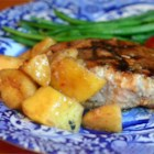 Momma Pritchett's Grilled Pork Chops and Apple-Pear Topping - Pork chops soak in a sweet and savory brown mustard marinade, then are grilled to perfection and served with grilled slices of apple and pear for a meal you'll be proud to serve.