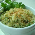 "Lime Cilantro Cauliflower ""Rice"" - Grated cauliflower stands in for rice in this flavorful, grain-free side dish."