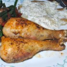 Chicken El Dermie Le Hermie - Chicken legs are baked with corn oil spread, garlic salt and pepper. A leggy taste of simplicity!