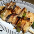 Marinated Chicken Kabobs - Boneless chicken pieces, green bell pepper chunks, onions, and fresh mushrooms are cooked on the glaze with a wonderful, lightly sweet glaze.