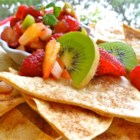 Annie's Fruit Salsa and Cinnamon Chips - This delicious salsa made with fresh kiwis, apples and berries is a sweet, succulent treat when served on homemade cinnamon tortilla chips. Enjoy it as a summer appetizer or an easy dessert.