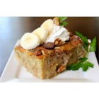 Walnut Banana Bread Pudding - This rich banana-flavored bread pudding is made with coconut milk and sprinkled with toasted walnuts. It should sit 8 hours to overnight before baking, so it's a great make-ahead dessert.