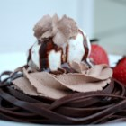 Chocolate Lovers Fettuccine a la Mode - This luscious and romantic dessert tops chilled chocolate fettuccine pasta with chocolate whipped cream, vanilla ice cream, and a drizzle of chocolate for the perfect end to a perfect dinner.