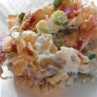 Kristen's Bacon Ranch Potato Salad - This tasty ranch-flavored potato salad is just calling for you to make it your own. It's full of savory bacon, Cheddar cheese, and green onions.  Add some heat with hot pepper sauce, or stir in some of your favorite crunchy veggies. It's sure to be a hit!