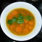 Moroccan Vegetable Soup - Parsnips, carrots, and pumpkin seasoned with lemon and cilantro make a great cold-weather soup. The garnish is a pretty touch but is optional.