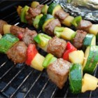 Beef Shish Kebabs for Freezer Cooking - Marinated beef cubes and fresh vegetables are portioned and frozen for later. When you're ready, thaw a few bags in the morning, and assemble the skewers while the grill is heating. You'll be home from work and eating dinner in no time!