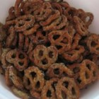 Marinated Pretzels - Large, salted sourdough pretzels work best for this appetizer. The marinade gives them a tangy, addictive flavor that's wonderful for parties, and goes well with any beverage.