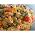 No Mayo Easy Pasta Salad - This recipe combines cucumber, tomatoes, and pasta with prepared ranch and Italian salad dressing for a quick and easy pasta salad without mayonnaise.