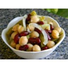 Bob's Three Bean Salad - This simple three bean salad combines kidney beans, garbanzo beans, and green beans with a flavorful vinaigrette dressing. It is perfect for picnics and potlucks.