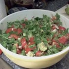 Salsa Salad - Chunks of avocado, tomato, red and green peppers, and plenty of cilantro give flavor to this refreshing and colorful salad, and jalapeno peppers give it a hint of heat. Dressing is just a simple squeeze of lime juice.