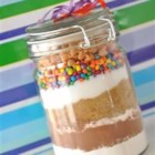 Sand Art Brownies - Mix ingredients in a wide mouth quart size jar, just like sand art that kids make today.