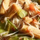Nicola's Pad Thai - This vegetarian pad Thai recipe has a tang from tamarind paste, sweetness from brown sugar and nuttiness from peanut butter.