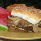 Mushroom and Swiss Burger - A very simple copycat recipe for a famous mushroom-Swiss burger has canned soup and mushrooms, processed Swiss-style cheese, and ground beef.