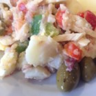 Pipirrana (Spanish Potato Salad) - Potato salad made with fresh green and red bell peppers, tomato, green olives, and tuna, it's a nice change from mayo based potato salad.