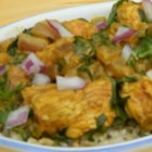 Chicken Saagwala - Simple, fragrant, Indian-inspired chicken simmers in a light sauce made flavorful with turmeric, cinnamon, garam masala, and fresh spinach.