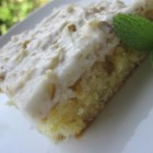 White Texas Sheet Cake - This cake is good to make a day ahead, and is very popular at potlucks.