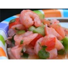 American Ceviche - This is more of a ceviche gazpacho, because it is marinated and served in clam and tomato juice. Serve in a tall beer glass or ice cream sundae glass with tortilla chips on the side.
