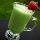 Melon Lime Cooler - Frozen chunks of honeydew melon are blended with lime sherbet to create this frosty summer treat.