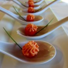 Pressed Smoked Salmon Mousse Appetizer - Ripe cherry tomatoes are stuffed with a creamy smoked salmon filling.
