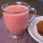 Cool Off Smoothie - Strawberries, orange juice, strawberry yogurt, ice and one banana for a fruity-licious smoothie - a healthy way to cool off. Refreshing and cool.