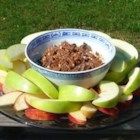 Apple Brickle Dip - Toffee bits are stirred into a sweetened cream cheese to make a yummy dip for apples. It's a perfect dessert to pack for lunch, or for an afternoon snack.