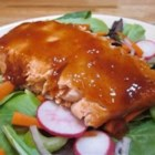 KISS Salmon - How simple can a salmon recipe be? Just bake fillets with a combination of barbeque sauce and raspberry jam for a delicious and pretty main dish.