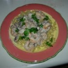 Shrimp & Scallop Stroganoff - Elegant comfort food, this delicious seafood sauce with tender shrimp and scallops is simple to prepare and perfect for a dinner party! Serve with egg noodles or white rice.