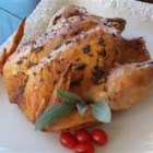 Roasted Lemon Balm Chicken - Sage and lemon balm flavor this delicious, moist chicken.