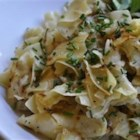 Kohlrabi and Egg Noodles - Egg noodles and kohlrabi are seasoned only with salt and pepper in this simple Hungarian dish.