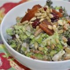 Broccoli Cranberry Salad - Fresh broccoli makes an easy salad with crumbled bacon and dried cranberries in a creamy and tangy mayonnaise dressing.