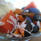 Summer Fruit Salad II - Cinnamon and coconut add their flavors to this fruit salad of watermelon, peach, nectarine, plum, blueberries, and grapes.