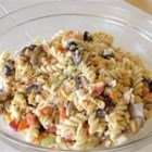 Chicken Pasta Salad II - This is a super easy but wonderfully tasty salad recipe I picked up years ago which has become a summer tradition with my family!  The ingredients and proportions are adjustable to personal preference. For added flavor, you can boil the pasta in a mixture of 1 part water and 1 part chicken broth.