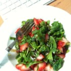 Strawberry and Spinach Salad with Honey Balsamic Vinaigrette - This is a great, easy summer salad with a lot of options as to mixing and matching. When the Gorgonzola cheese and balsamic vinaigrette combine it gets all tart and creamy!
