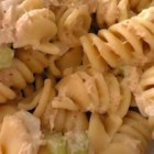 Cold Macaroni and Tuna Salad - Macaroni, diced hard boiled eggs, peas and tuna in a satisfying mayonnaise dressing.