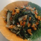 Quick Collard Greens - Sweet potato is a surprise addition to this quick collard green side dish.